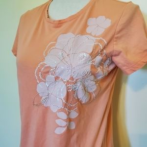 Floral Graphic Tee with Beading